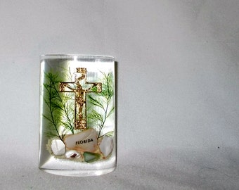 Cross Paperweight Mother Of Pearl Fern Goldtone Crucifix Vintage Tropical Florida Collectible Souvenir Shipping Included