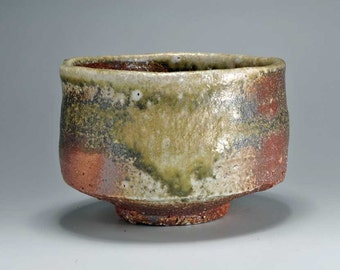 Shigaraki, anagama, 10day anagama fired tea bowl with natural ash deposits. chawan-32