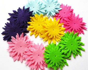 Felt Flower Bublegum One, set of 36 pieces