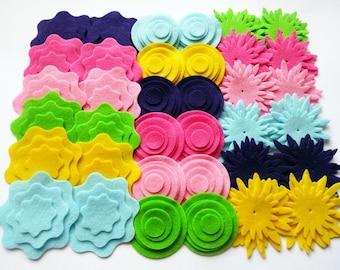Felt Shapes Bublegum, Felt Flower and Felt Circles , set of 132 pieces
