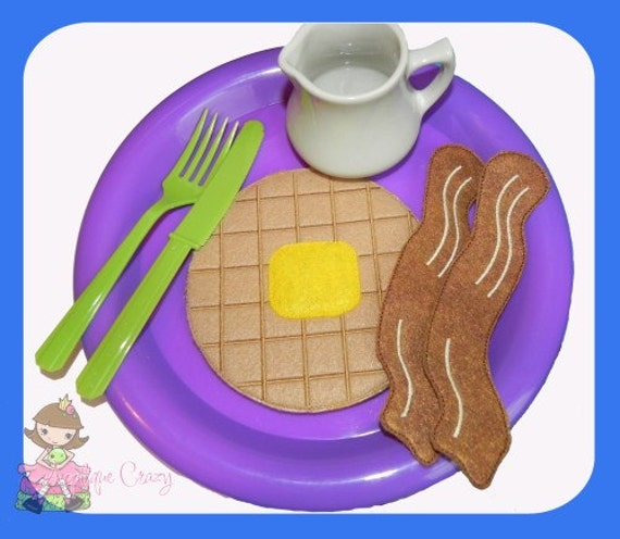 Breakfast play food set (in the hoop) embroidery file design