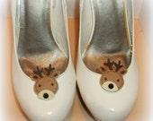 Christmas Reindeer Shoe Clips - Christmas  shoe clips, set of 2  rhinestones,  gift, bride, girls