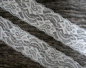 "Off White Stretch Lace Trim. 1.5"" Wide. 2 Yards. MARINA Lace."