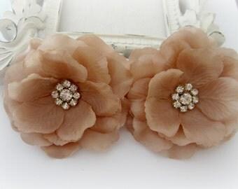 Vanilla Silk Flowers with Rhinestone Center. 2 Piece. CELINE Collection