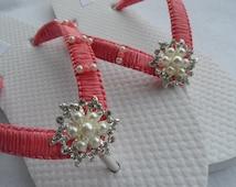 Bridal Coral Flip Flops / Wedding Rhinestone Flip Flops / Wedding Color Flip Flops / Bridal Sandals/ Wedding Shoes / Bridesmaids  Shoes