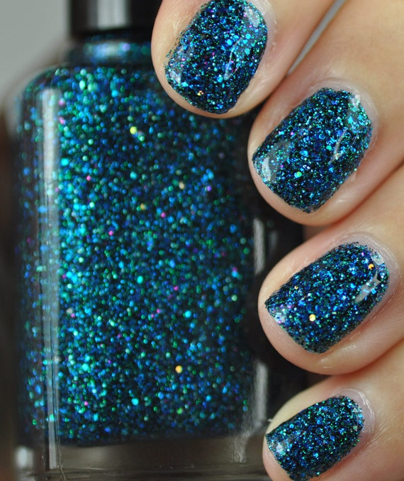 Shimmer And Sparkle Nail Polish: Sea Creature Blue And Green Glitter Nail Polish 15ml .5oz