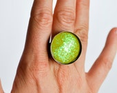 Adjustable Crazy Lime ring (round) Handpainted