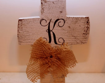 Distressed Monogram Wooden Cross
