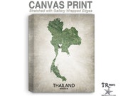 Thailand Map Stretched Canvas Print - Home Is Where The Heart Is Love Map - Original Personalized Map Print on Canvas