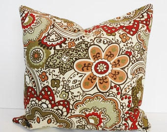 Designer Throw Pillow Cover, Richloom Fabrics, Decorative Toss Pillow, Olive Green and Red Cushion, 16 x 16