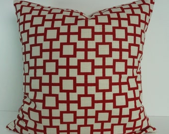Designer Geometric Decorative Pillow Cover, Robert Allen at Home, Crimson Red, Linen, 18 x 18