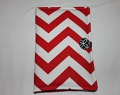 "SALE - Kindle Fire 5th Generation or Kobo Arc 7""HD or Original Kindle Fire Case Cover Only - Chevron Zig Zag Red & White"