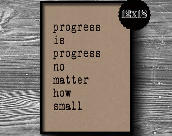 12x18 progress is progress typographic art print quote poster inspirational kraft paper typography  home decor motivational