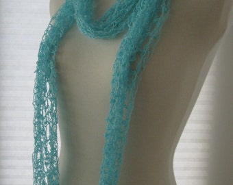 Blue Grotto - Recycled Bright Aqua Blue Linen and Rayon Adjustable Infinity Scarf