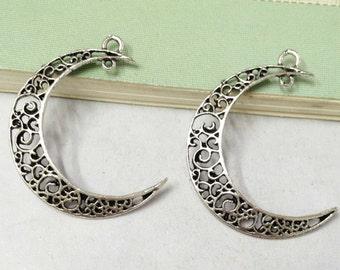 15pcs Antique Silver Filigree Moon Shape Earring Findings Charm Pendants 26x36mm AA208-6