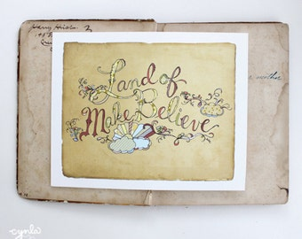 Nursery print - Land of Make Believe PRINT - 8x10 - Modern Nursery - Wall art