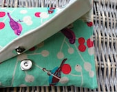 Turquoise Echino Birds and Berries Linen Clutch - funlittlethings