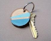 Reclaimed Wood Slice Color Block Keychain