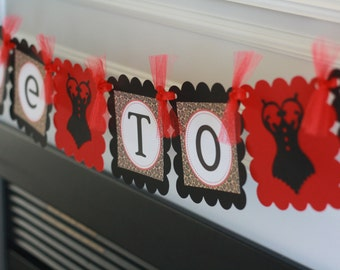 """Red Brown & Black Leopard Print Lingerie Bridal Shower Bachelorette """"Bride to Be"""" Banner -  Ask about our Party Pack Special"""