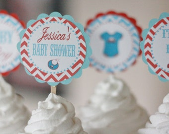 12 Chevron Red & Blue Bodysuit Car Baby Layette Theme Baby Shower Cupcake or Cake Toppers - Ask About our Party Pack Sale