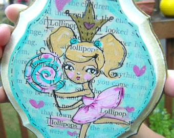 Whimsical Lollipop Girl   Original Mixed Media Illustration