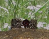 Sterling silver garnet marcasite ladies /  womens cocktail dinner ring