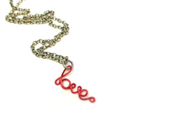 Red Love Necklace Dainty Red Jewelry Bronze Chain