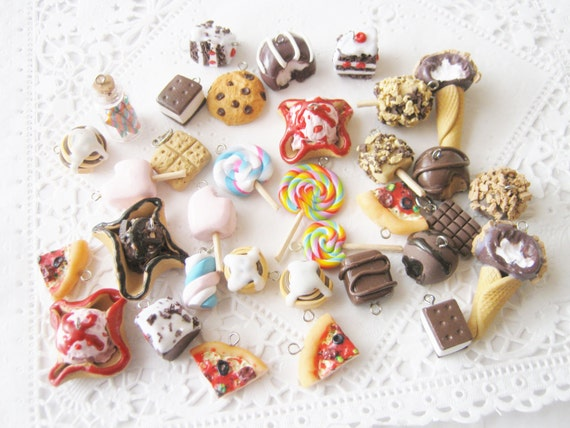Sale sale sale Handmade Polymer Clay Realistic Food Charms Destash Sale