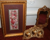 Vintage, Rose Picture, Ornate Gold Frame, GROUPIING,  Triple Photo Frame, Victorian, Mirror Tray, Vanity Tray, Wall Decor, Easel Frame