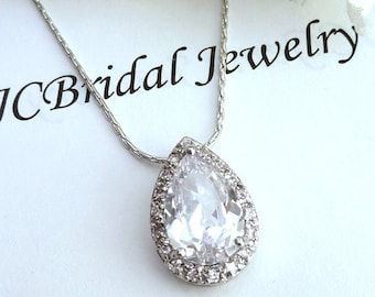 Bridal Necklace - High Quality Large Halo Clear White Peardrop Cubic Zirconia with Multi Round CZs Necklace