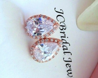 Large Halo Rose Gold Plated Clear white Teardop Cubic Zirconia Stud Post Earrings