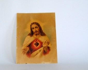Antique - rare and vintage -  religious art decor - illustration - JESUS