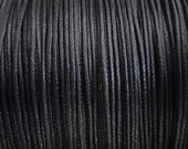 10 Yards - 0.5mm Black Waxed Cotton Cord