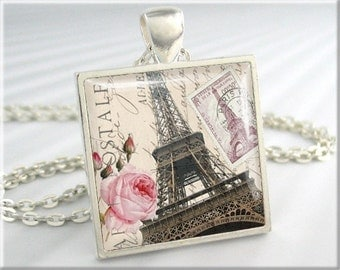 Eiffel Tower Necklace, Paris Art Collage Jewelry, France Travel Pendant, Resin Charm, Square Silver, Gift Under 20 (622SS)