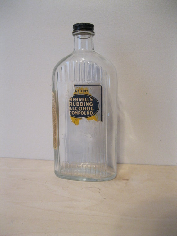 Vintage Merrell S Rubbing Alcohol Compound Bottle