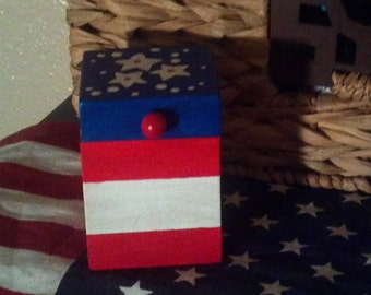 Patriotic wood box, red white and blue box with stars, hand painted