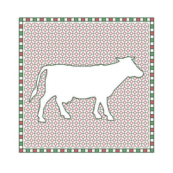Blackwork Cow x 4 cross stitch charts cows PDF pattern