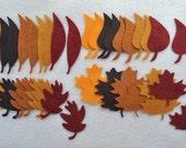40 Piece Die Cut WOOL BLEND Small Felt Leaves, Fall Mix