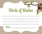 Monkey Baby Shower - Words of Wisdom Note Cards - BOY