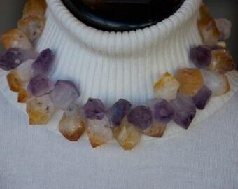 Amethyst and Citrine Quartz points necklace
