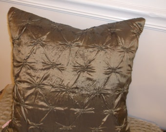 Pillow Cover, Pin Tuck Fabric, Dark Golds, Bronze, Tobacco Browns, Rich Deep Shaded Colors, Same Both Sides, Taffeta Satin Textile Is luxe