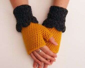 Mustard Crochet Mittens Fingerless Gloves