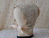 Antique Edwardian English Bonnet Crocheted Cap