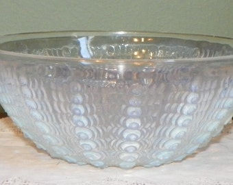 Antique R. Lalique OURSINS BOWL France Crystal Opalescent Glass Serving Dish Signed
