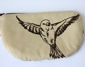 SALE Zipper Pouch- Sparrow screen print  in brown on sand twill, chevrons~Ready to ship