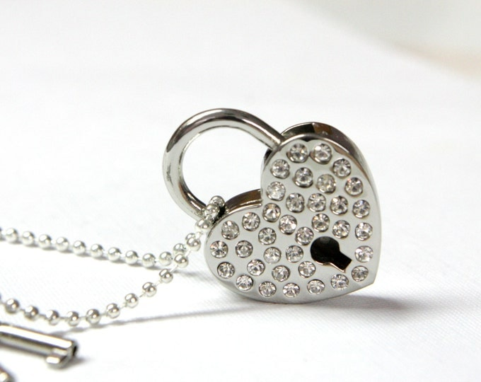 Long Necklace - Working Padlock Necklace - Heart Shaped crystal Padlock Necklace - Valentines day gift