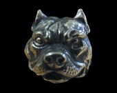 Solid Bronze Pitbull Biker Ring - Free Re-Size/Shipping