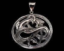 Solid 92.5% Sterling Silver Viking Seamonster Dragon Medallion Pendant - Free Shipping Worldwide