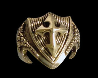 Solid Bronze  Crusader Dragon Shield Ring - Free Re-Size/Free Shipping Worldwide