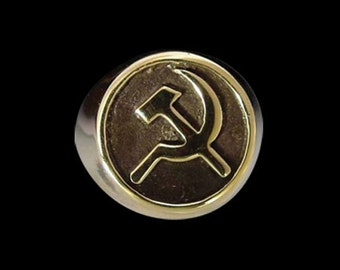 Solid Bronze Soviet Union 'Cold War' Ring - Free Re-Size/Shipping